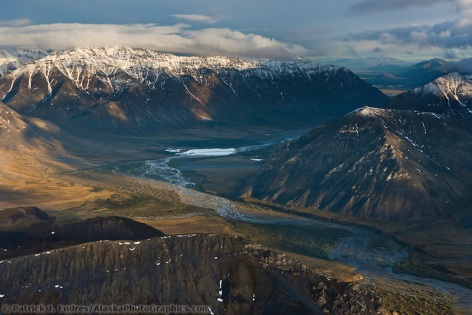 Aerial of the Sheenjek river, Brooks range